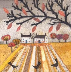 'Last Leaves' By Mixed Media Artist Helen Hallows. Blank Art By Green Pebble. www.greenpebble.co.uk