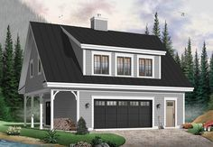 Plan 21550DR: Carriage House with Shed Dormer...2 bedrooms