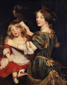"""Men weren't the only ones to indulge in ribbon loops. Ladies closed their jacket fronts with a boa-like line of ribbons and hung ribbon tassels from their bodices and hair. By the 1670s, the loops had ceased to be distinctly bow-shaped and were applied like tassels. The ribbon strips were often wider for men and thinner for women and children. """"The Eldest Daughter of the Artist"""" by Claude Lefebvre, circa 1672"""