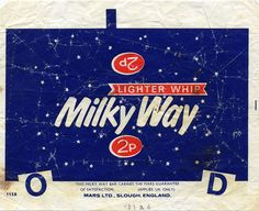 - Mars - Milky Way candy bar wrapper - Our fav chocolate bar. An old Milky Way Candy Bar wrapper.Our fav chocolate bar. An old Milky Way Candy Bar wrapper. Old Sweets, Vintage Sweets, Retro Sweets, Vintage Candy, Retro Food, Retro Ads, 1970s Childhood, My Childhood Memories, Sweet Memories