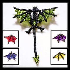 Seed Bead Dragon Pattern | ... beaded dragon phone key purse charm from fiberaddicts beaded dragon