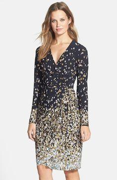 Maggy London Print Long Sleeve Jersey Wrap Dress (Regular & Petite)