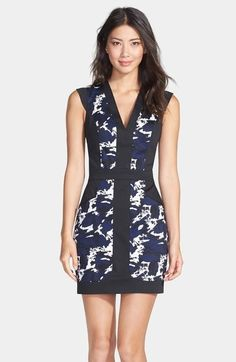 French Connection'Marble Galactic'Print Sheath Dress