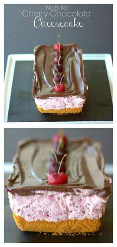 No-Bake Cheery Chocolate Cheesecake recipe - an easy recipe for Valentine's Day | Valentine's Day Recipe | Chocolate Recipe | No Bake Cheesecake Recipe