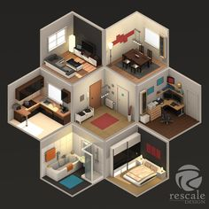 #mnur - My Loft - ISO LowPoly by rescale Isometric Art, Isometric Design, Certificate Background, Pixel Art Background, 3d Design, House Design, Arte Steampunk, Gaming Room Setup, Game Room Design