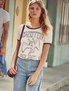 Led Zeppelin Tee at Free People Clothing Boutique Grunge Girl, Boho Look, Wide Leg Jeans, Blue Jeans, Led Zeppelin, Vintage Tees, Casual Tops, Everyday Fashion, Boho Fashion