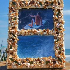 """Frame your fun in this beautiful handcrafted frame designed by local artisan DebiLynn from her """"Imperfect Perfection"""" Collection. All Shell Pieces and SeaGlass are naturally Surf Abraded and handpicked from the sandy shores of Florida's East Coast Beaches"""