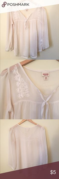 Mossimo White Blouse This Target brand shirt is perfect to dress up or down, for work or running errands. It has a small, unnoticeable stain on the back, but is otherwise in very good condition! Mossimo Supply Co. Tops Blouses