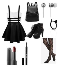 """""""I came to werk"""" by lordengrant ❤ liked on Polyvore featuring Monki, Express, Beats by Dr. Dre and Stila"""