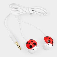 MOMA  - słuchawki-biedronki. W ofercie są też słuchawki-kaczuszki i słuchawki-sushi :P