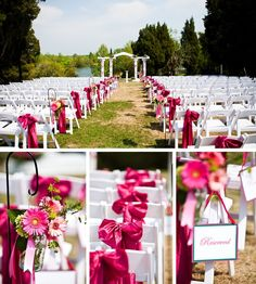 Wedding ceremony decor ideas. Might be able to do this with silver ribbons??