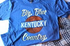 """Big Blue Country Tee $22.00 Vintage-inspired Kentucky tee that is perfect for any """"Big Blue"""" fan!  printed exclusively for Miss Molly Vintage by Kentucky Brewed Tees  screenprinted on super soft heather look tri-blend tee 