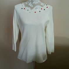 Sweater Off white sweater with buttons around neckline. Large White Stag Sweaters Crew & Scoop Necks