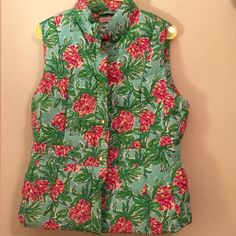 Lilly Pulitzer Puffer Vest  Never Been Worn. Perfect Condition. Down Filled Printed Puffer Vest and Gold Hardware. Size Large. Perfect for when you wish it was summer in the dead of winter!  Lilly Pulitzer Jackets & Coats Puffers
