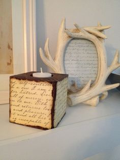 Wooden Block Candle Holder Words by Candle Light by niccoletti, $15.00