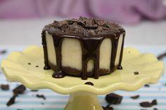 Raw vanilla bean cheesecake with chocolate sauce