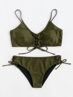 Shop Lace Up Front And Side Bikini Set online. SheIn offers Lace Up Front And Side Bikini Set & more to fit your fashionable needs.
