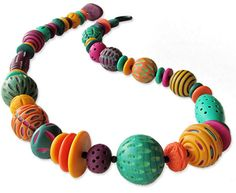 Jenna Wright, Tarot Necklace on PCDaily Polymer Clay Kunst, Polymer Clay Necklace, Polymer Clay Projects, Polymer Clay Creations, Polymer Clay Beads, Clay Crafts, Paper Beads, How To Make Beads, Glass Ornaments