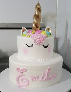 Calumet Bakery Two Tier Buttercream Unicorn Cake