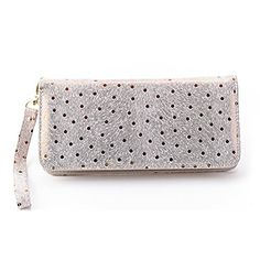 Mantos Eternity Women's Genuine Leather Sequin Purse Fashion Polka Dot long Wallet Clutch with Wristlet -- See this great product.