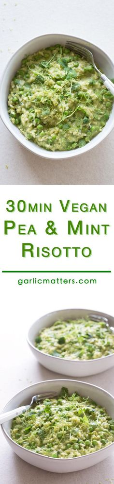 This delicious Mint and Pea Risotto recipe is what Spring, comfort food dinners are made of. This is not only an easy dish anyone can put together in 30 min with a handful of ingredients, but also healthy meal filled with green and vegan goodness - perfect St. Patrick's Day meal idea! Easy Salad Recipes, Vegetarian Recipes Easy, Healthy Eating Recipes, Dinner Recipes, Healthy Food, Risotto Recipes, Garlic Recipes, Pasta Recipes, Cooking For Beginners