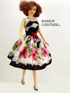 Bright magenta flowers inspire Hankie Couture!  A dress from a vintage hanky, to…