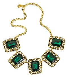 Yochi Linked Square Emerald Crystal Ornament Necklace