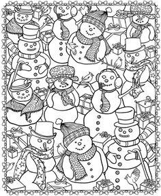 Christmas Snowman Printable Coloring Page - Snowman