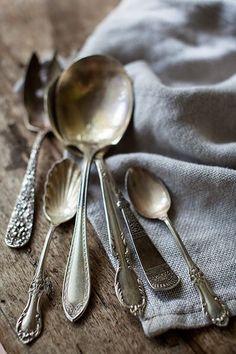 Gypsy Purple home. Vintage Love, Vintage Silver, Antique Silver, Vintage Shoes, Vintage Dolls, Silver Spoons, Silver Plate, Silver Cutlery, Vintage Cutlery
