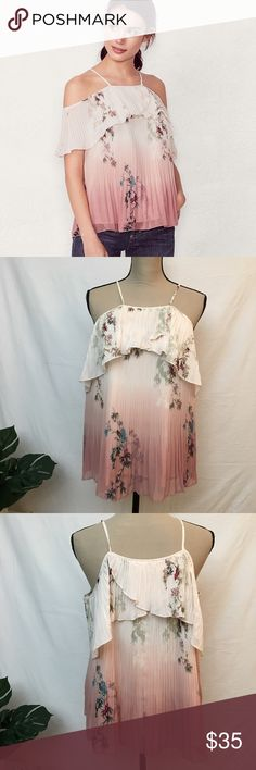 "Lauren Conrad Ombre Pleated Cold Shoulder Top Lauren Conrad Pink Ombre Pleated Chiffon Asian Bird Cold Shoulder Top Large  PRODUCT FEATURES  Cold-shoulder design  Pleated chiffon overlay  Scoopneck  Short sleeves  FABRIC & CARE  Polyester  Machine wash  Imported  SIZE LARGE MEASUREMENTS  LENGTH 25""  UNDERARM TO UNDERARM 19""  Nearly new condition. LC Lauren Conrad Tops"