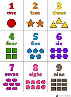 Free Printable Number, Shape and Color Flashcards