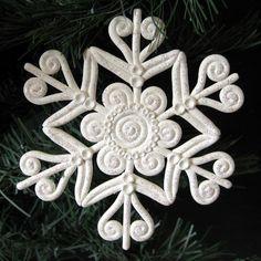 Snowflake Christmas Ornament Polymer Clay White Glitter | KaelMijoy - Seasonal on ArtFire