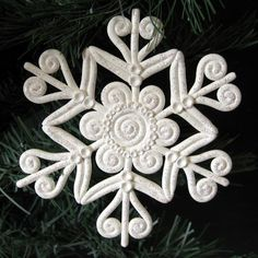 Snowflake Christmas Ornament Polymer Clay White Glitter   KaelMijoy - Seasonal on ArtFire