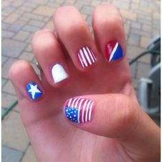 Did my nails for 4th of July ! #america