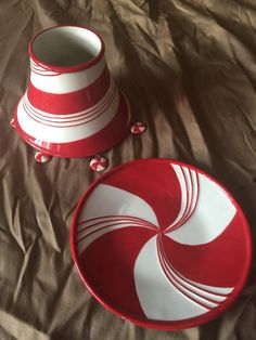 Yankee Candle Large Shade And Plate Christmas Candy Cane Stripes #YankeeCandle