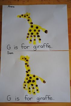G for Giraffe & the rest of the ideas for the week of the letter G. Letter G Crafts, Abc Crafts, Alphabet Crafts, Daycare Crafts, Classroom Crafts, Toddler Crafts, Toddler Stuff, Alphabet Letters, Holiday Crafts