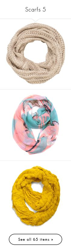 """""""Scarfs 5"""" by musicmelody1 on Polyvore featuring accessories, scarves, beige, loop scarf, circle scarf, circle scarves, infinity loop scarf, knit scarves, multi colored and tube scarf"""