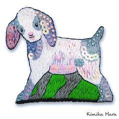 @kimikahara • Instagram写真と動画 Embroidery Designs, Embroidery Art, Baby Goats, Dinosaur Stuffed Animal, Textiles, Instagram, Toys, Artist, Artwork