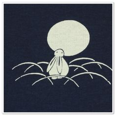 3.Cotton Fabric - Rabbit in grass Moonwatching .
