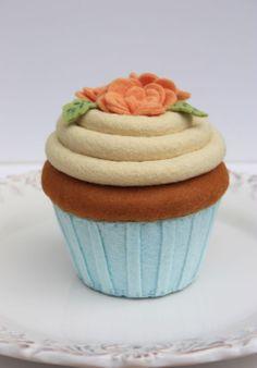 Felt Cupcake Carrot Cake With Aqua And Peach Roses. $48.00, via Etsy.