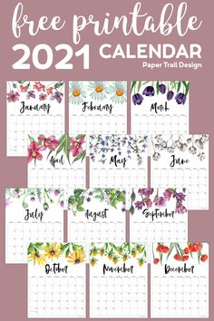 Free Printable 2021 Floral Calendar - Paper Trail Design - 2021 free printable floral calendar pages to help you stay organized and keep it together in the new - Kids Calendar, Calendar Pages, Calendar Design, 2021 Calendar, Blank Calendar, Wall Calendars, Calendar To Print, Monthly Calendars, Calendar Wall