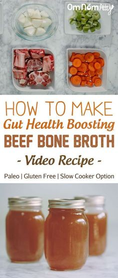 How to make gut health boosting beef bone broth - paleo & gluten free with slow cooker option - video recipe Cooker Recipes, Beef Recipes, Soup Recipes, Healthy Recipes, Chicken Recipes, Barbecue Recipes, Healthy Foods, Easy Recipes, Atkins
