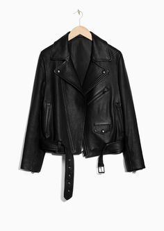 & Other Stories image 1 of Leather Motorcycle Jacket in Black