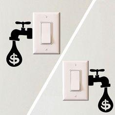 wall design sticker, light switch sticker, energy saving reminder, water drop sticker, eco design adhesive, wall art decals, eco design sticker