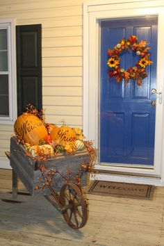 Fall Porch Wheelbarrow Decoration