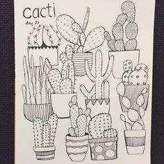 caught up! this one was really fun. cacti. day 21. #cbdrawaday #creativebug #sketchbook #sketching #illustration #drawing #penandink #micron #cactus #cacti #creativelifehappylife
