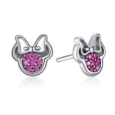 Presentski Sterling Silver Minnie Mickey Mouse Stud Earrings Fuchsia Color >>> To view further for this item, visit the image link.