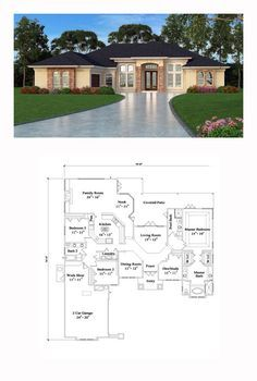 Tuscan Style House Plan 63376 with 4 Bed, 3 Bath, 2 Car Garage - Tuscan House Plan 63376 Tuscan House Plans, Mediterranean House Plans, Southern House Plans, Family House Plans, Craftsman House Plans, Bedroom House Plans, Country House Plans, Dream House Plans, Mediterranean Decor