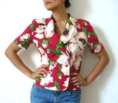 CACHAREL French Vintage Floral Print Croped Blouse by bOmode, $75.00