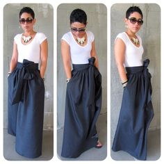 The long maxi skirt is cute